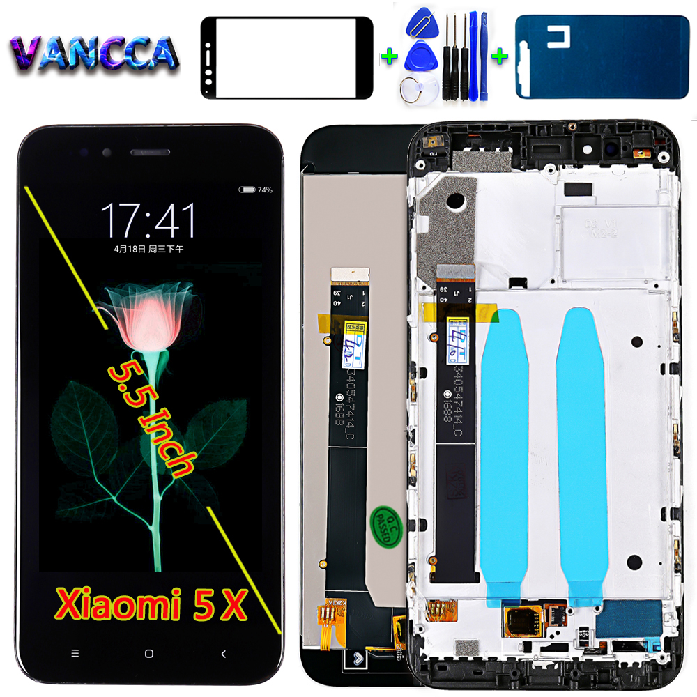 Vancca 5.5 Inch LCD Display For Xiaomi Mi 5X Touch Screen Digitizer Assembly For Xiaomi A1 1920*1080 Frame With Glass Film Tools