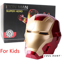 Iron Man Motorcycle Helmet Cosplay Mask for Kids Touch Sensing Mask with LED Eyes Super Hero Series Figure Model Toy for Boys