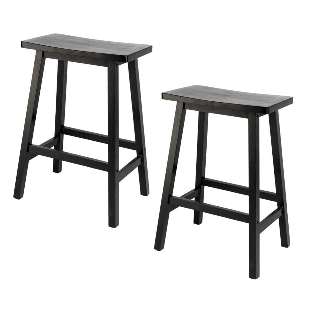 2pcs 24 Inches Pine Wood Saddle Seat Bar Stool Dining Chairs Dropshipping Black High Quality Over Weight Stable Durable2pcs 24 Inches Pine Wood Saddle Seat Bar Stool Dining Chairs Dropshipping Black High Quality Over Weight Stable Durable