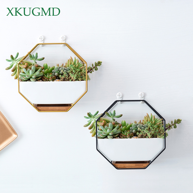 Metal Iron Rack White Ceramic Planter Pot Simple Octagonal Geometric Wall Hanging Ceramic Flower Pot Bamboo Tray Iron Frame