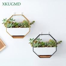 Металлический железная стойка белый керамический горшок простой восьмиугольный геометрический настенный керамический цветочный горшок бамбуковый лоток железный каркас