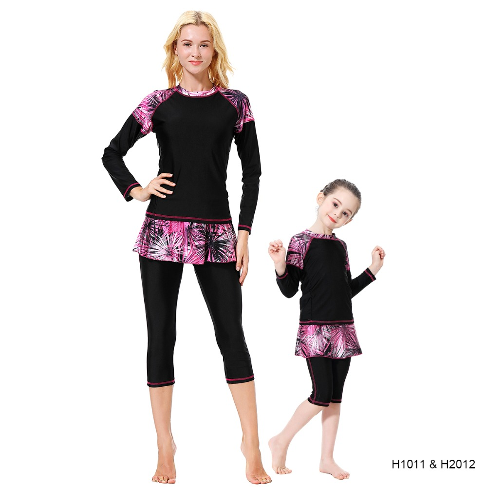 Modest Women Girls UV Swimwear Skirted Two Pieces Long Sleeve Mom And Baby Matching Swimsuit 2019 Family Swim Mother Daughter