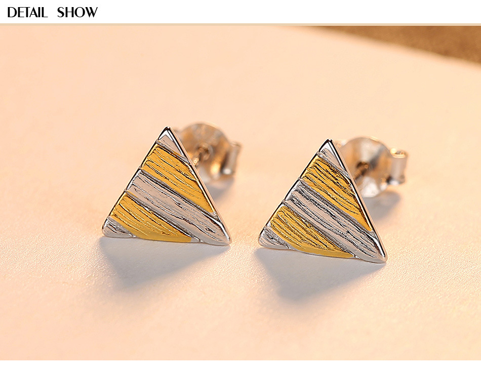 S925 sterling silver earrings personality minimalist wild small triangle ear jewelry LBM36S925 sterling silver earrings personality minimalist wild small triangle ear jewelry LBM36