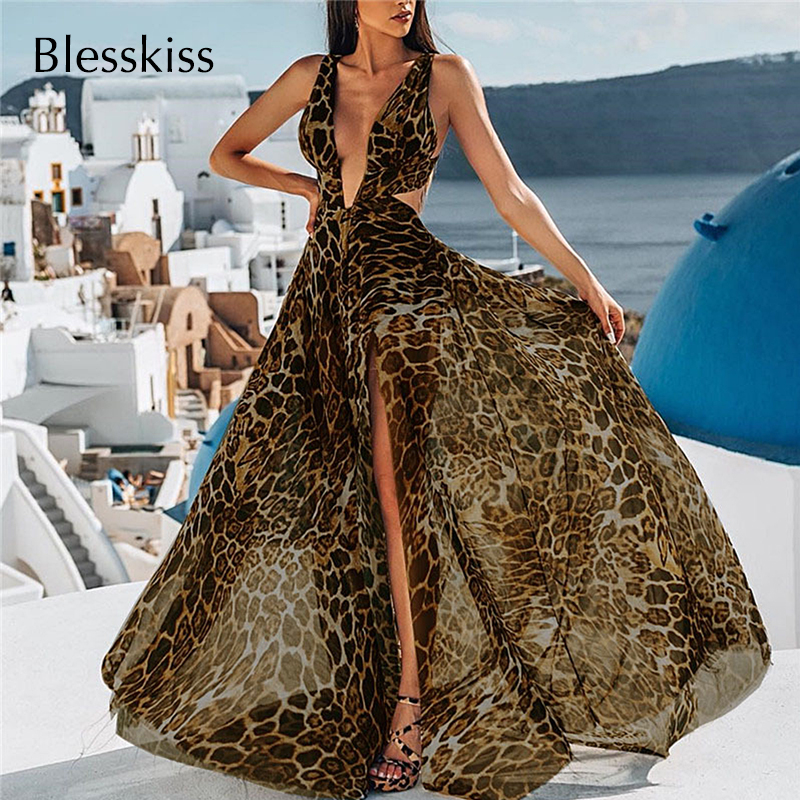 Blesskiss Sexy Cutout Beach Dress Bikini Cover Up Women Summer Long Leopard Swimsuit Bathing Suit Pareo Beach Holiday Swim Wear