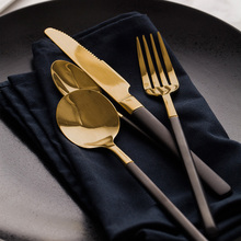 Gold plated Western food Cutlery Set Stainless Steel Tableware Set with Tablespoon knife fork Teaspoon