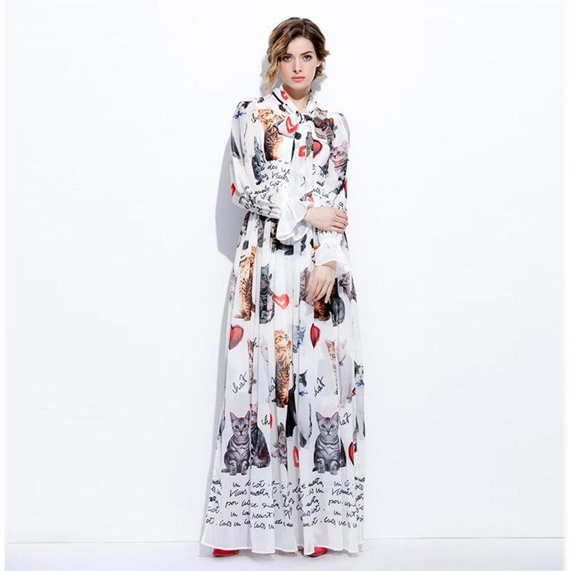 New 2017 Summer Fashion Elegant Print Bow Collar Long Flare Sleeve Floor Length Cat & Heart White Long Dress Vintage Bohemian