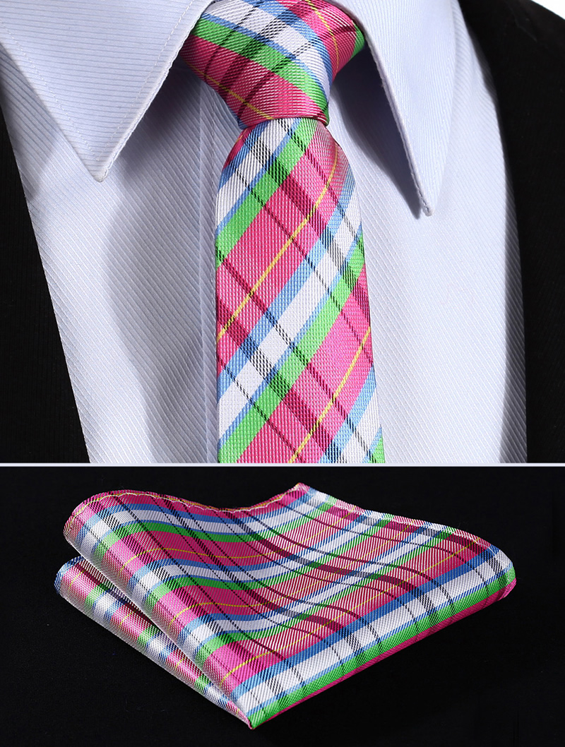 "TC905K7 Pink Green Check 2.75"" 100%Silk Wedding Jacquard Woven Men Tie Necktie Pocket Square Handkerchief Set Suit"