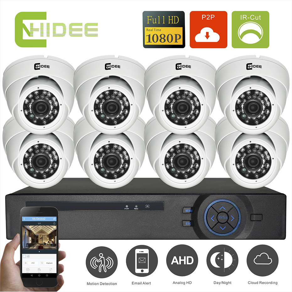 CNHIDEE 8CH CCTV System 1080P AHD DVR 8PCS IR Weatherproof Indoor Video Surveillance Home Security Camera System 8CH CCTV Kit -