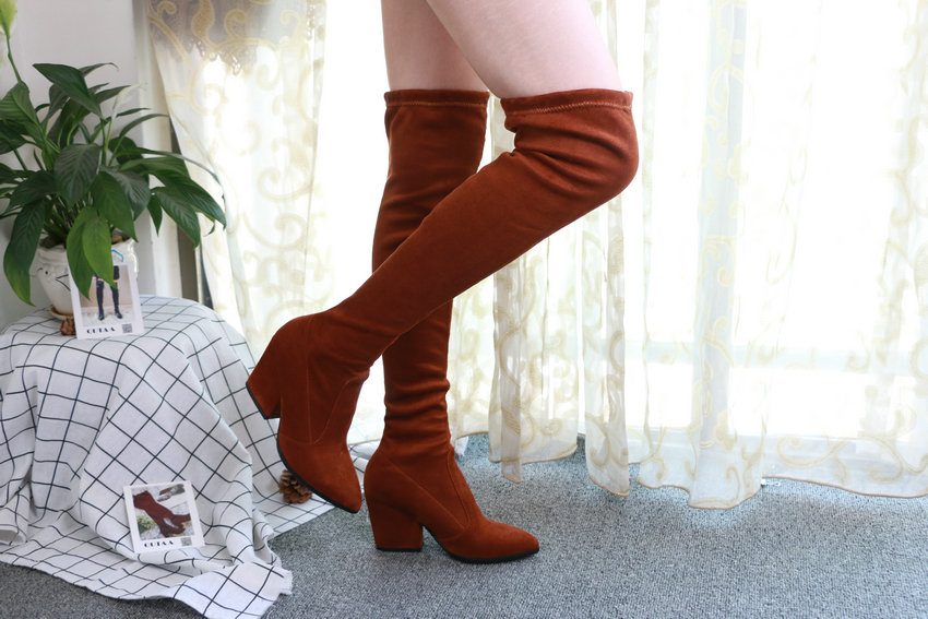 Women Hoof Heels Winter Shoes Pointed Toe Sexy Elastic Fabric Boots 52