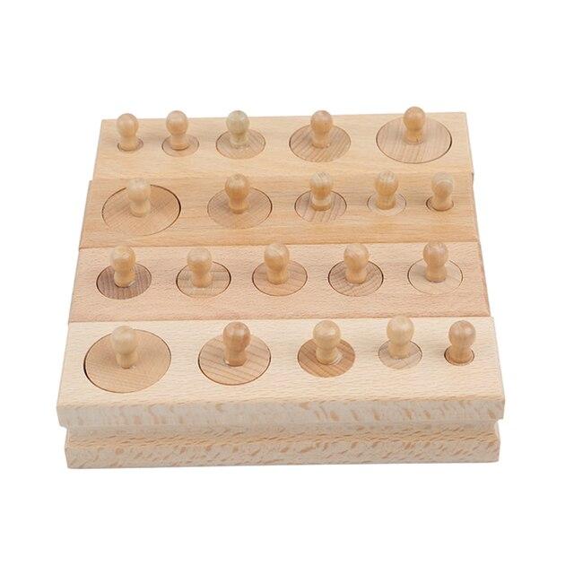Juguetes Educativos de madera Montessori para niños bloques de toma de cilindros juguete para la práctica y los sentidos del desarrollo del bebé