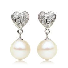 925 silver real natural big The only Olympic 925 Sterling Silver Heart 9-9.5mm round natural pearl earrings earrings to send his