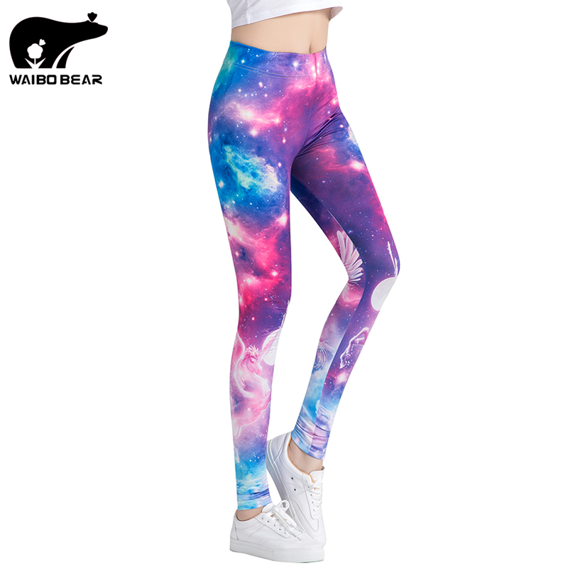 Sexy Leggings Fitness Women Leggings Space Galaxy Printing leggins High Waist Pants Female Quick Dry Trousers WAIBO BEAR