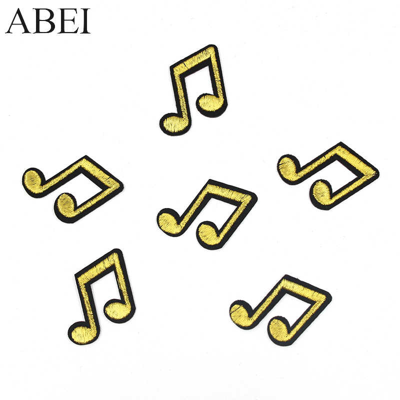 10pcs/lot Embroidered Gold Music Note Appliques Iron On Clothes Bags Jeans Coats Patches Diy Sweater Stickers Handmade Sew Patch