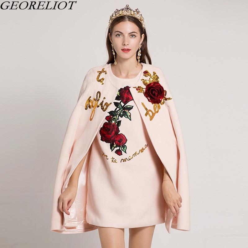 2018 Новый Для женщин взлетно посадочной полосы дизайнер шерстяная накидка пальто + Винтаж цветок вышивка Sequines вечерние платье комплект из 2 ч