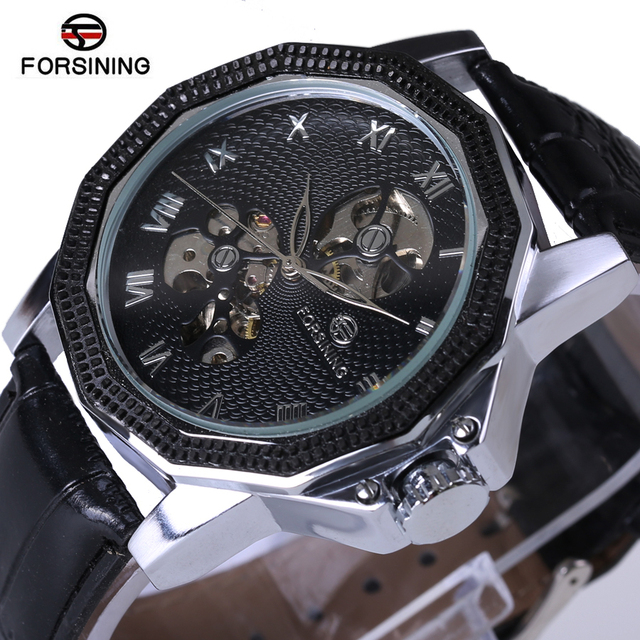 Relogio Masculino 2017 Forsining Men's Luxury Brand Military Mechanical Watches Leather Hollow Skeleton Watch Relojes Hombre