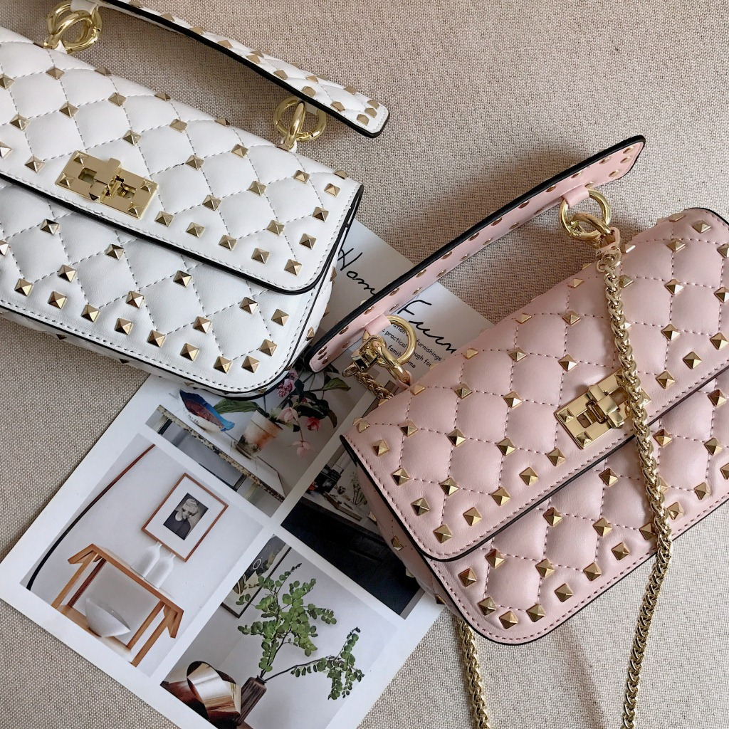 Women Sheepskin Messenger Bags Genuine Leather Rivets Bag Handbags Luxury Designer Female Chain Crossbody Shoulder Bag new shoulder crossbody bags for women mini chain flap bags genuine leather swallow handbags luxury designer ladies messenger bag