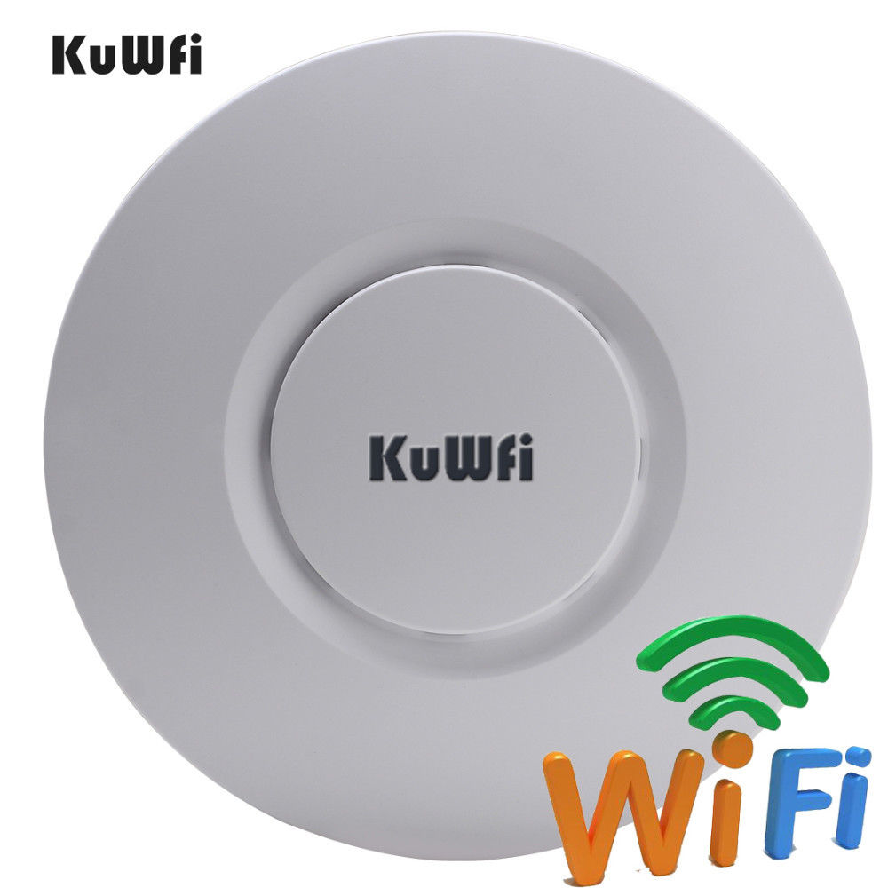 Image 2 - KuWfi Indoor Wireless Router 300Mbps Ceiling AP Router 2.4Ghz WiFi Access Point AP for Hotel 48V POE WI FI Signal Amplifier