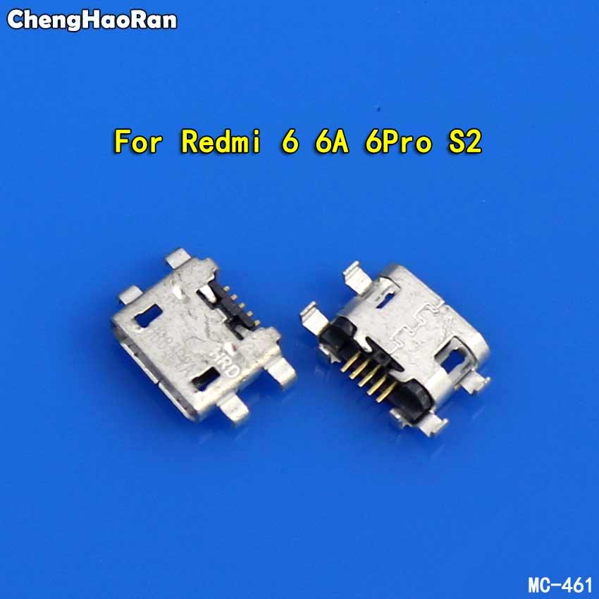 ChengHaoRan 2pcs Charging Port For Xiaomi Redmi 6 6A 6Pro S2 Micro USB Jack Connector USB Charging Dock Socket Plug