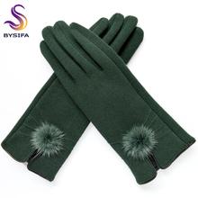 [BYSIFA] rękawiczki damskie rękawiczki zimowe Mink ball rękawiczki wełniane moda projekt otwierający sezon damskie rękawiczki nowe eleganckie czarne zielone rękawiczki tanie tanio Dla dorosłych CN (pochodzenie) WOMEN Poliester Koral polar COTTON Stałe Nadgarstek BSH-BDR-09 80 Cotton + 20 polyester