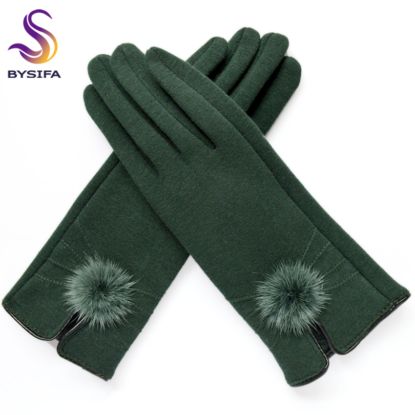 [BYSIFA] Women Mittens Gloves Winter Mink Ball Wool Gloves Fashion Opening Design Ladies Gloves New Elegant Black Green Gloves