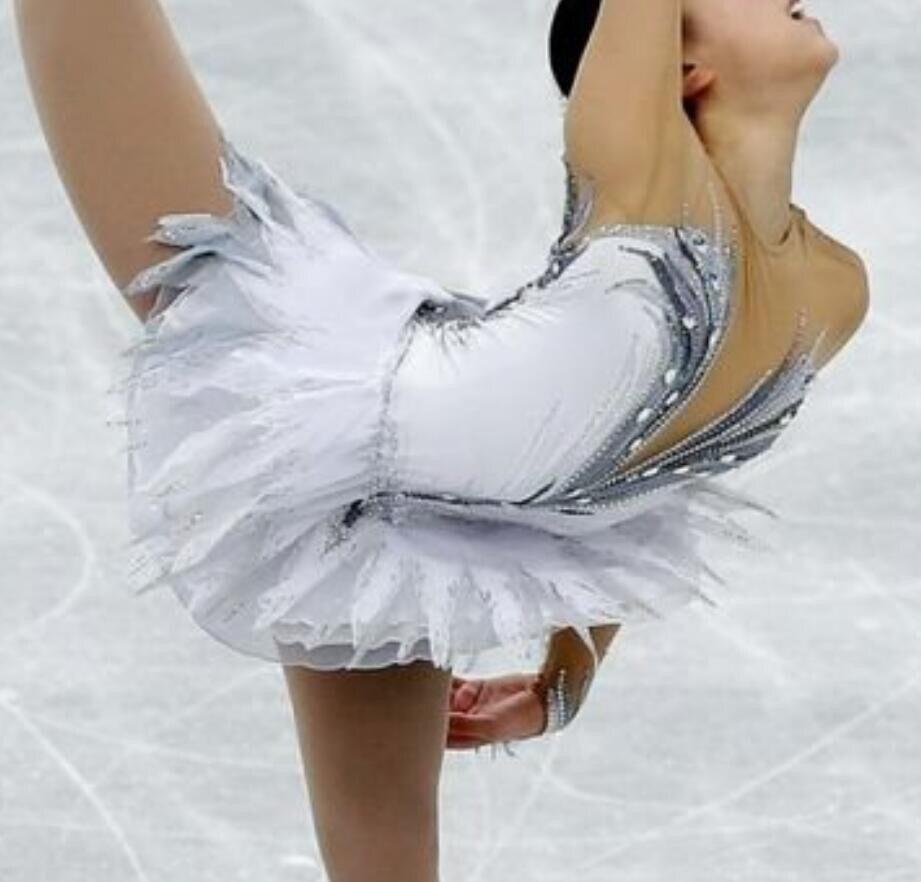 Robe de patinage artistique blanche fée personnalisée avec paillettes, vêtements de patinage de Performance en strass Spandex faits à la main