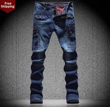 Горячая! Синий более карманный сращивания англия правда жан мужчина брюки тонкий мода свободного покроя известный бренд мужские джинсы Большой размер