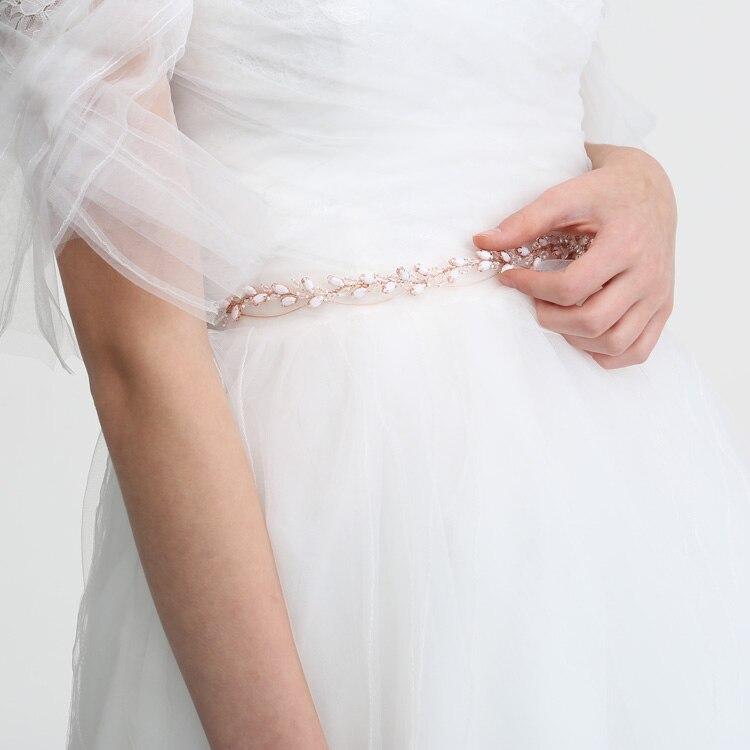 Jonnafe Hand wired Rose Gold Crystal Wedding Dress Accessories Bridal Belt Women Prom Waist Sash Headpiece headpiece