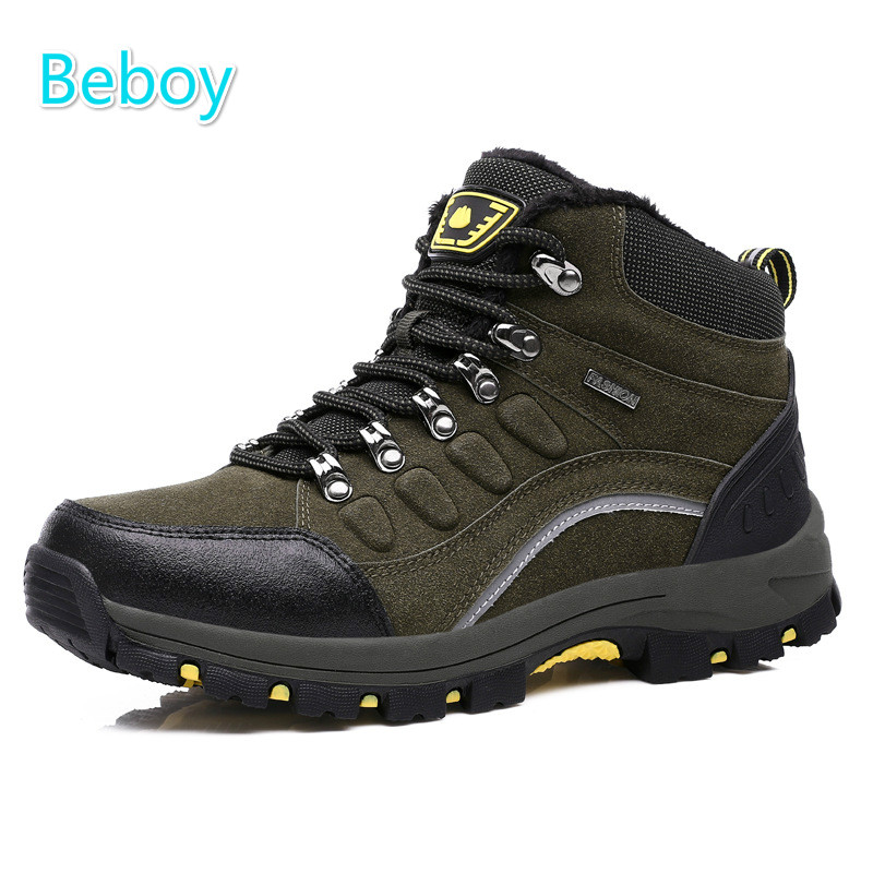 ФОТО Beboy Winter Hiking Boots Shoes Men Women Genuine Leather Waterproof Trekking Boots Shoes Thermal Fleece Outdoor Sport Shoes