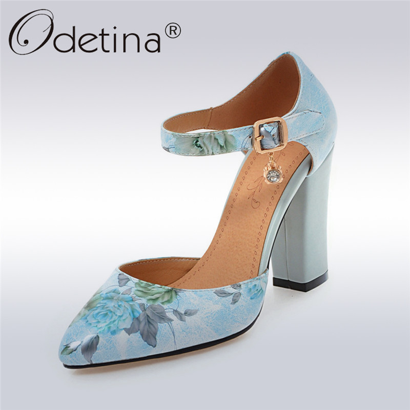 Odetina 2018 New Fashion Ankle Strap Pumps For Women Square High Heels Buckle Pump Shoes Ladies Pointed Toe Flower Sweet Shoes odetina 2017 new summer women ankle strap ballet flats buckle hollow out flat shoes pointed toe ladies comfortable casual shoes