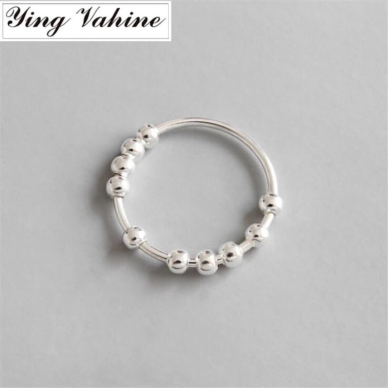Ying Vahine New Luxury Brand 925 Silver Jewelry Small Round Beads Rings For Women Bague Femme Argent 925