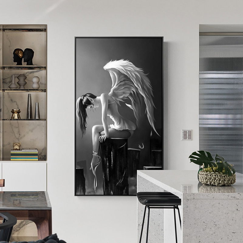 Modern Black And White Anime Poster Angel Wings Canvas