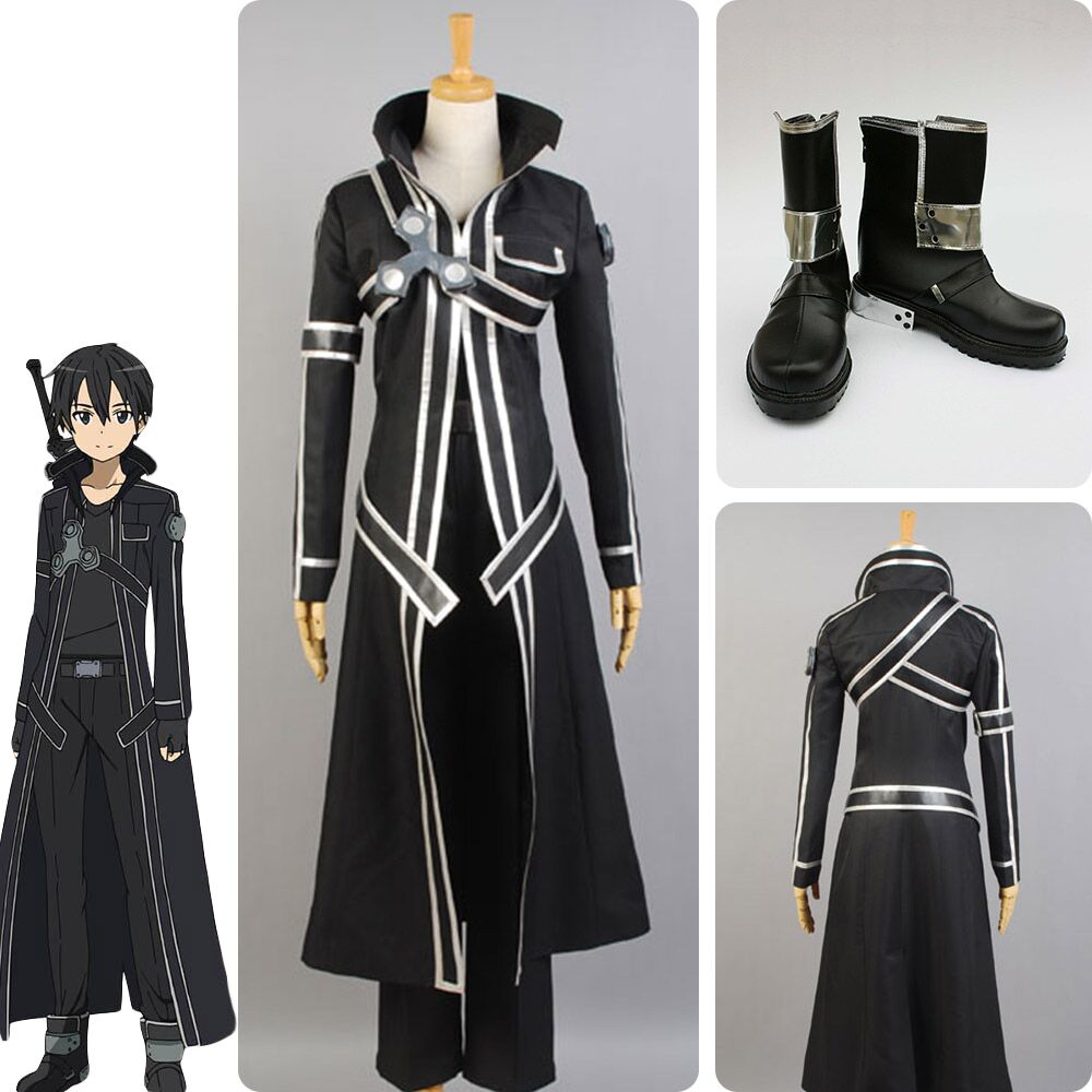 Sword Art Online SAO COSplay Costume Kazuto Kirigaya Kirito Halloween Full Sets Outfit Set With Shoes For Men Costume
