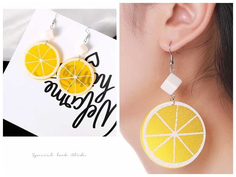 New South Korean Fruit Orange Lemon Pendant Earrings Female Sweet Temperament Earrings Wholesale Pearl Earrings