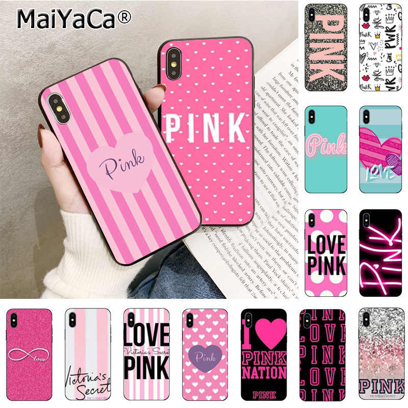 Maiyaca Love Stripe Pink Victoria's Secret Newly Arrived Cell Phone Case for iPhone Xr XsMax 8 7 6 6S Plus Xs X 5 5S SE 5C Cases
