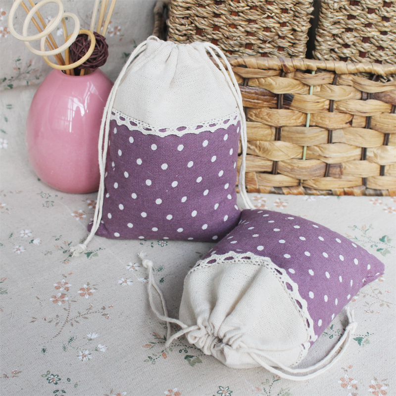 Purple Dot Linen lace Gift packaging Pouch 10x15cm 4 x6 pack of 100 Baby Shower Birthday