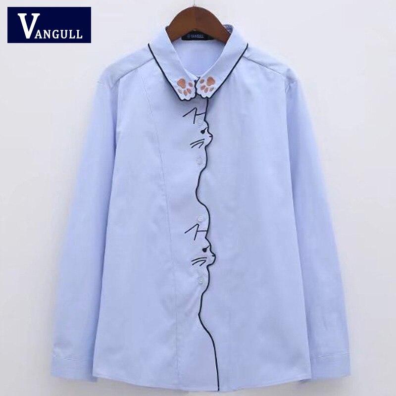 936f360c4881 Cheap Neko gato pata bordado Blusa talla grande 4XL camisa femenina Vintage Blusa  manga larga Mujer