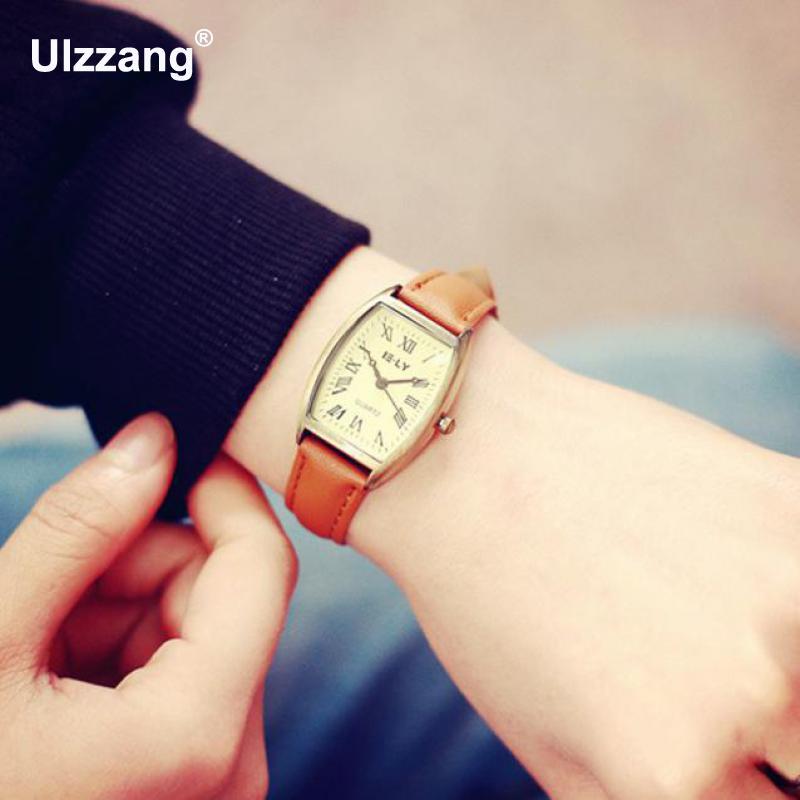2018 New Vintage Rome Dial Black Brown Leather Strap Bracelet Watch Wristwatch for Women Girls Students survival nylon bracelet brown