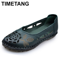 TIMETANG Women's Shoes Genuine Leather Woman Loafers Slip On Female Flats Moccasins Ladies Driving Shoe Cut Outs Mother Footwear