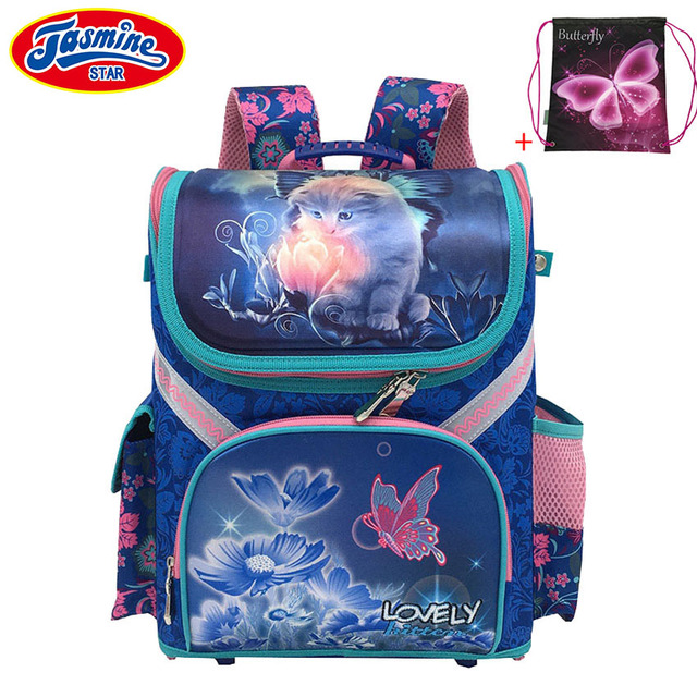 Jasminestar Детский рюкзак Класс 1-3-5 новый мальчик школа ортопедические ранец животных сумка кот школы рюкзаки для Обувь для девочек