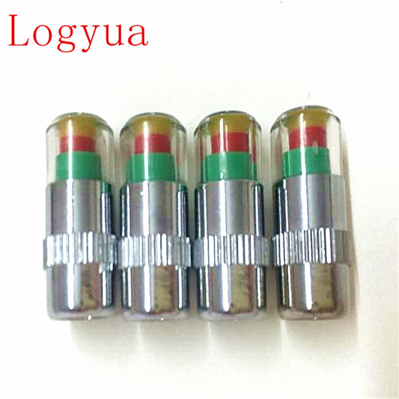 4Pcs/Lot 2.4Bar 36PSI,  2.2 Bar  32PSI,2.0 Bar Air Warning Alert Tire Valve Pressure Sensor Monitor Light Cap Indicator For Cars