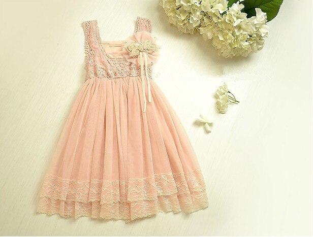 Venta al por mayor Fashtion Retro encaje vestidos las muchachas de princesa de color rosa con arco de la perla niños vestido por 2-6 años envío gratis