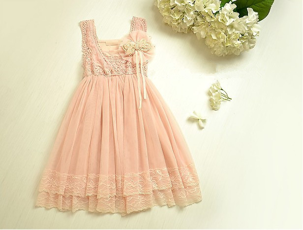 Wholesale Fashtion Retro Lace Girls Dresses Pink Princess with Pearl Bow Kids Dress for 2-6 years Free shipping