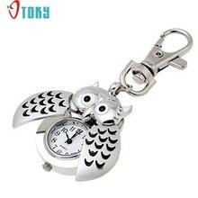 OTOKY Hot Unique   Pocket Fob Watches Mini Metal Key Ring owl double open Quartz Watch Clock- Silver Drop ship F12