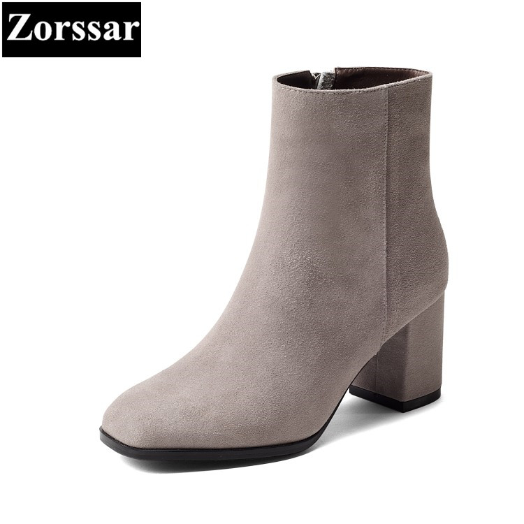 {Zorssar} 2018 New Suede Women shoes Thick heel Round Toe ankle Equestrian boots High heels fashion womens boots winter zorssar brands 2018 new arrival fashion women shoes thick heel zipper ankle chelsea boots square toe high heels womens boots