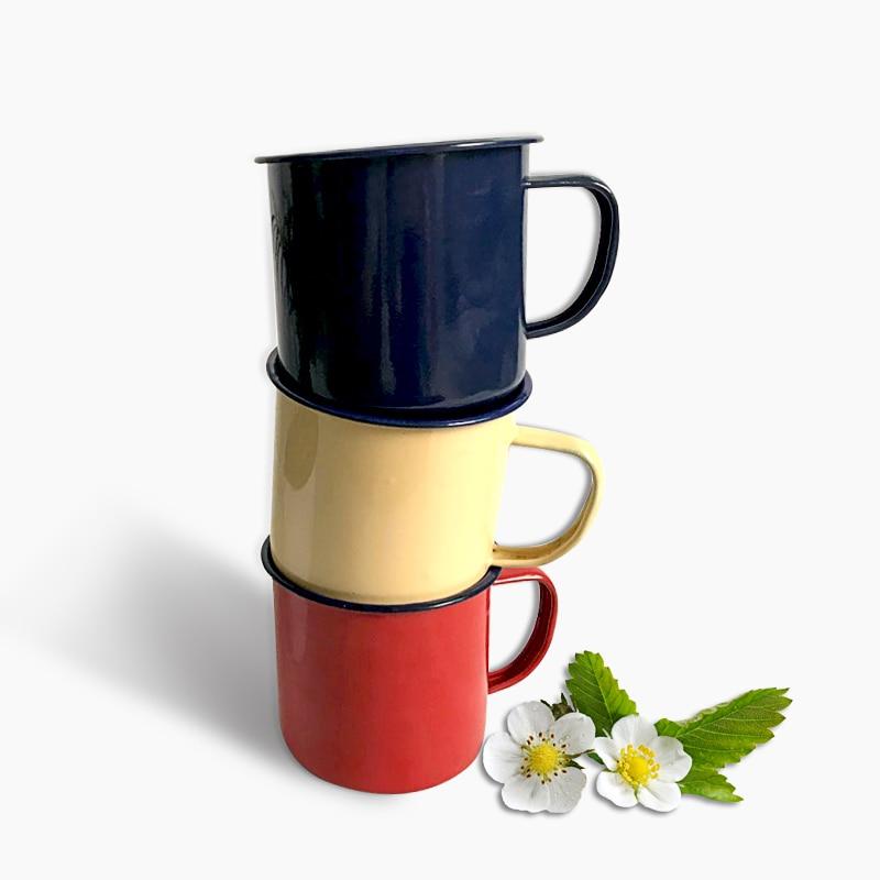 Coffee Mug for Tea Custom Enamel Mug Vintage Metal Mug Nostalgic Creative Beer Cup White Coffee Cups Friends Drinkware Gifts
