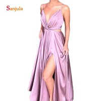 Leg Split Slit A Line Prom Dresses Purple V Neck Spaghetti Straps Cheap Prom Gowns Hollow Waist Sexy Long Night Party Dress D509