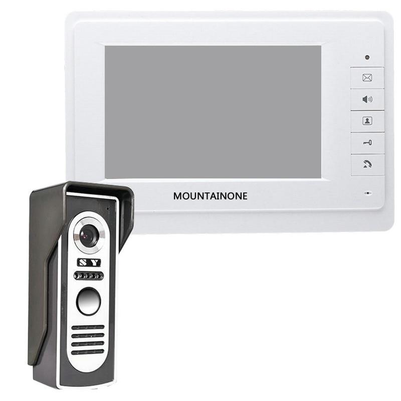 Mountainone 7-Inch Display Cable Video Phone Doorbell Infrared Rainproof Wireless App Unlock Intercom System White +Black Abs