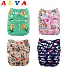 Новая мода!  Бесплатная доставка, многоразовые и моющиеся тканевые подгузники ALVA (10 шт./лот)