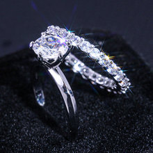 2pcs Engagement Statement Rings for Women Micro Pave AAA Cubic Zirconia Ring 2.5 carats six prong Wedding Band Jewelry