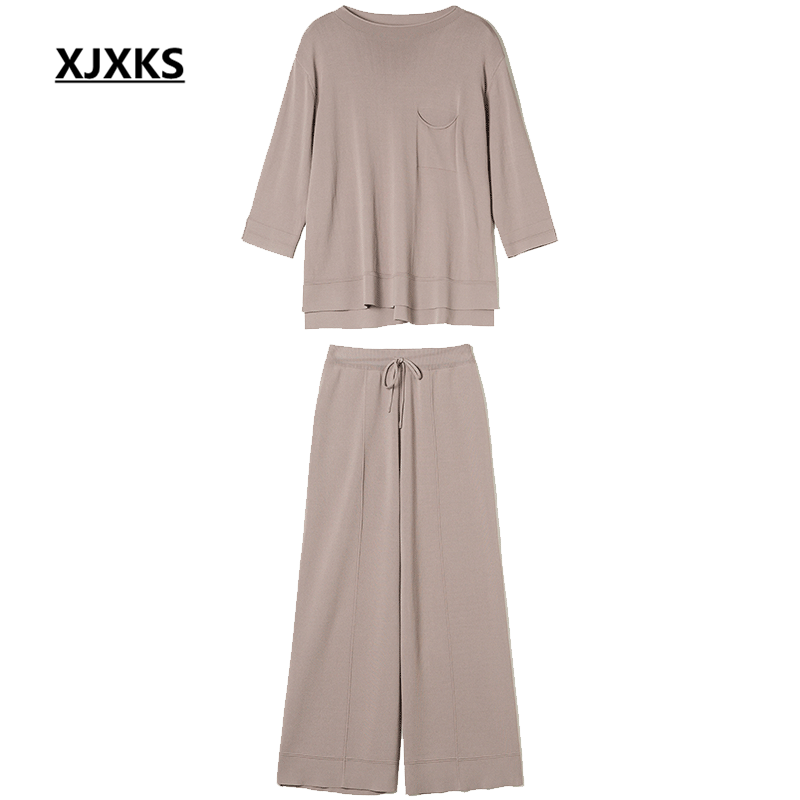 Xjxks 여성 2 피스 패션 3 분기 슬리브 탑 + 탄성 허리 9 바지 2019 봄 여름 새로운 편안한 여성 세트-에서여성 세트부터 여성 의류 의  그룹 2